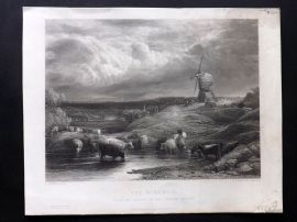 After Linnell C1860 Antique Art Journal Print. The Windmill. Cattle